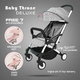 GREY - Baby Throne DELUXE Version light weight stroller