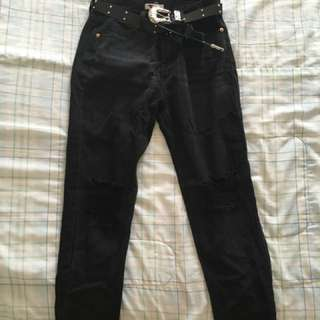 Temt black distressed mum jeans with belt