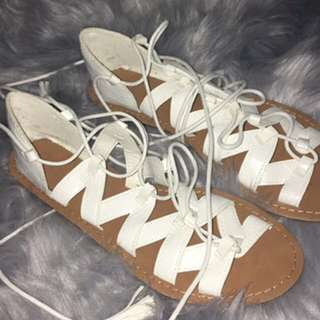 Rubi Shoes white lace up flats