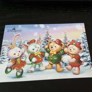 Disneyland Xmas Duffy and friends Postcard