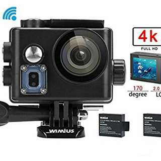 WiMiUS 4K 30fps, 720p 120fps Sports Action Cam 16MP WiFi Waterproof Camcorder 1080p 60fps 2.0'' LCD Screen 170° Wide Angle