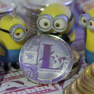 Litecoin metal coins.