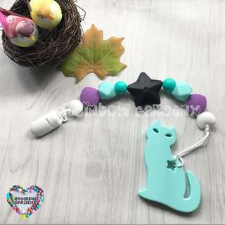 Handmade Silicone beads Pacifier Clip + Cat teether combo