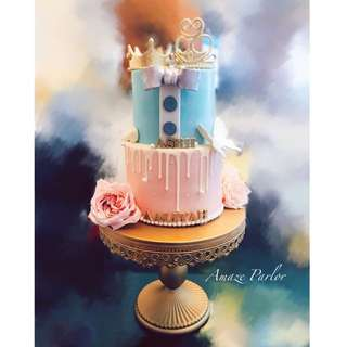 Baby's cake/Baby announcement party/Birthday cake/boy and girl joint cake