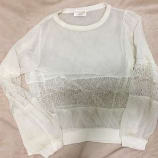 Lace and see though white top