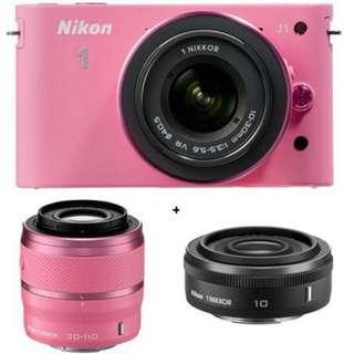 nikon j1 pink (2 lens)