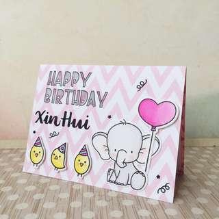 Handmade customised birthday card 3 by 4