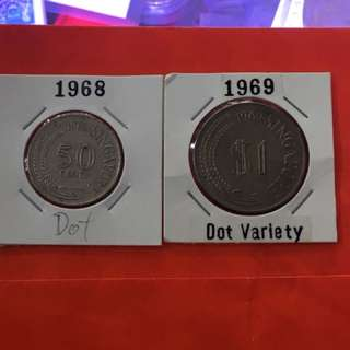 Singapore 1968 50 cents & 1969 $1 Dot Varieties used coin
