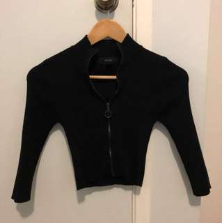 Zip-up crop shirt from Forever 21