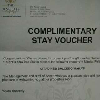 Citadines Complimentary Stay Voucher
