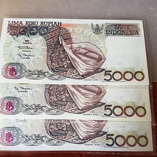 Vintage 1992 Bank Indonesia 5000 Rupiah. Laminated and New Notes.
