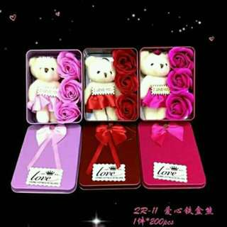 Valentine's Bear&Flower Set(rectangle)