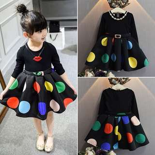 🌸TODDLER KIDS BABY GIRLS LONG SLEEVE DOT TUTU TULLE DRESS WEDDING PAGEANT DRESS🌸
