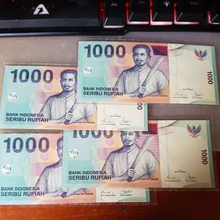 Vintage 2000 Bank Indonesia 1000 Rupiah. Laminated and New Notes.