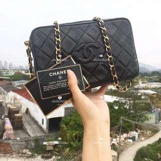 (SOLD)Chanel Vintage 黑色羊皮 Camera Bag