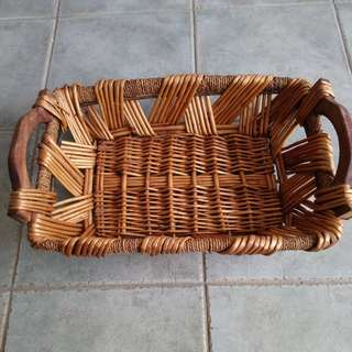 *1 day sale*Preloved rattan basket tray with handles and metal frame