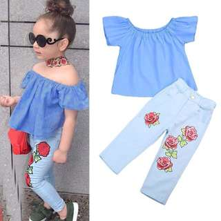 🌸GIRL OUTFIT OFF SHOULDER SHIRT T-SHIRT+LONG PANTS JEANS KIDS BABY🌸