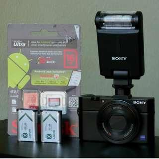 Sony RX100 mkII Advanced Camera, Free Sony External Flash Light HVL-F20M + 16GB Memory Card