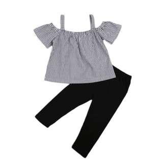 🌸SUMMER NEWBORN KIDS BABY GIRLS OFF SHOUDLER STRIPE VEST TANK TOP+LONG PANT🌸