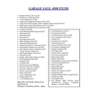 Garage Sales from 25th to 31st January