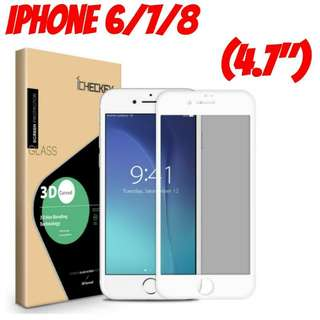 """iPhone 8 (4.7"""") White Glass Screen Protector"""