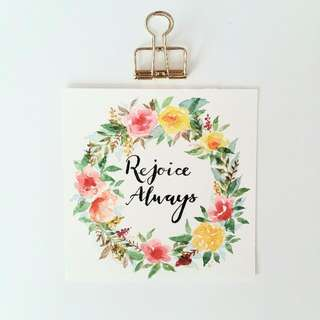 Watercolour Floral Wreath Square Card (Rejoice Always)