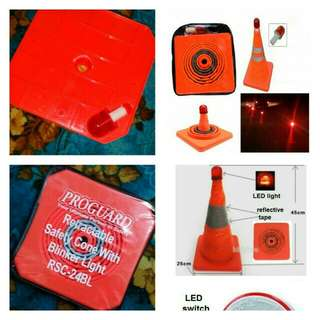 Retractable safety cone with blinker light RSC-24BL