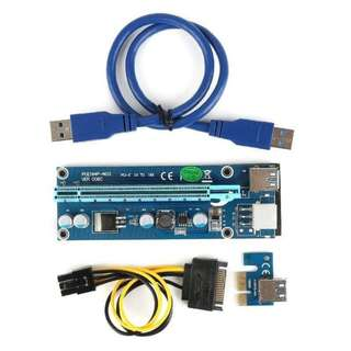 Eth Mining PCI-E Riser VER 006c Express Extender Riser Adapter Card SATA 15pin to 6 pin Power Cable Version 6 USB 3.0
