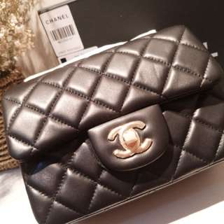 【Chanel Mini Square 】VIP Gift Bag, Lambskin