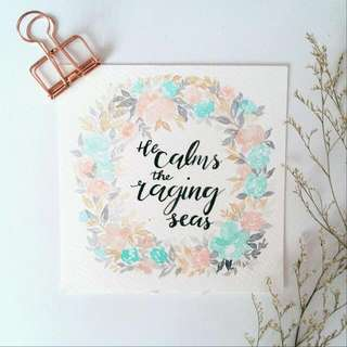 Watercolour Floral Wreath Square Card  (He Calms The Raging Seas) Pastel