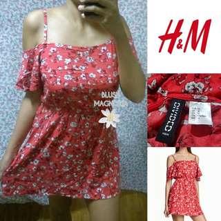 H&MRed Cold Shoulder Floral Dress