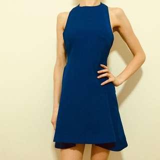 Open Back Blue Dress