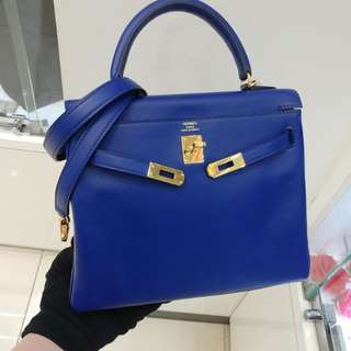 Hermes kelly 25 X stamp blue saphir