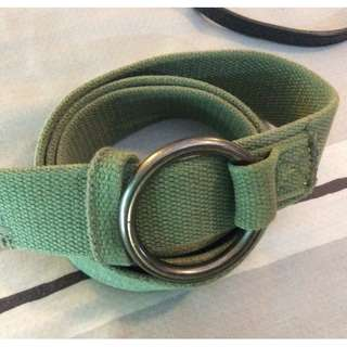 GAP Mens Distressed Canvas OLIVE ARMY GREEN Belt FREESIZEGAP