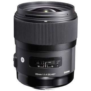 Sigma 35mm f/1.4 DG HSM Art Lens for Nikon,Canon and Pentax