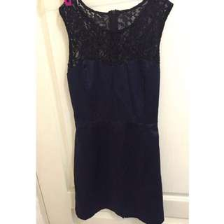 黑色蕾絲 深藍緞面洋裝 連身裙 尾牙