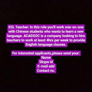 Part-time Homebased ESL Teacher