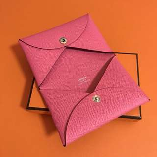 Hermes Calvi Card Holder Rose azalee Epsom