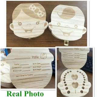 Tooth Box organizer for baby Milk teeth Save Wood storage box for kids Boy&Girl