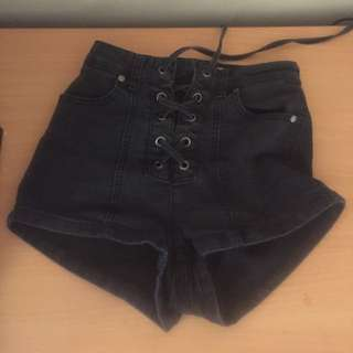 Faded black tie up shorts