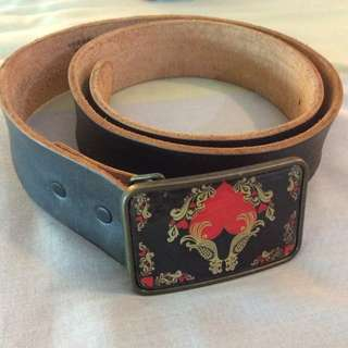 People are People BIG BUCKLE Leather Belt size 30-36 Made in USA
