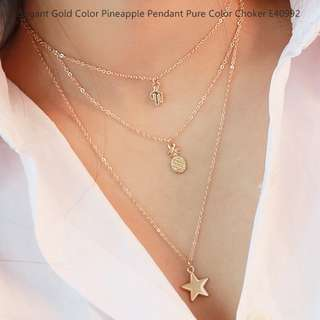 Elegant Gold Color Pineapple Pendant Decorated Pure Color Choker E40992