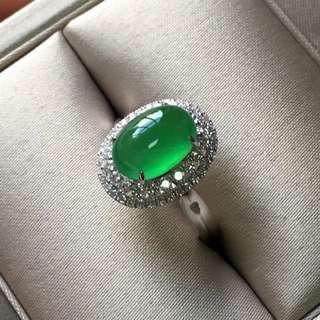18K鑽石天然A貨陽綠戒指