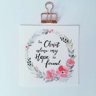 Watercolour Floral Wreath Square Card  (In Christ Alone) Pink Blue Green