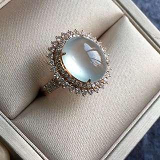18K鑽石天然A貨高冰蛋面戒指