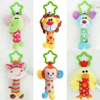 Baby Crib Pram Stroller Rattle Soft Plush Toy .