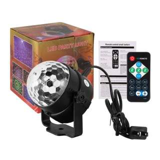 Portable Mini LED Disco Ball Light Remote Control RGB Party Lamp 7 Colors Sound Actived Crystal Magic Stage Light for Parties