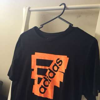 ORANGE AND BLACK ADIDAS LOGO SHIRT