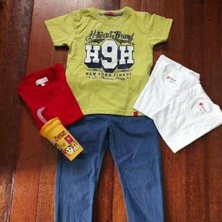 Preloved Boys OOTD Bundle ( 4 shirts, 1 Pants )