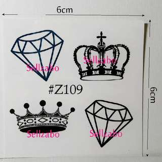 ★Princess Crowns Fake Temporary Body Tattoos Stickers Sellzabo #Z109